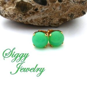 Mint Green Opal Stud Earrings Assorted Finishes